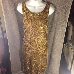 Alice + Olivia Gold Sequins Dress, size 8